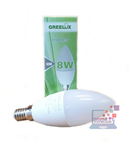 LED lemputė C37 8W E14 Greelux